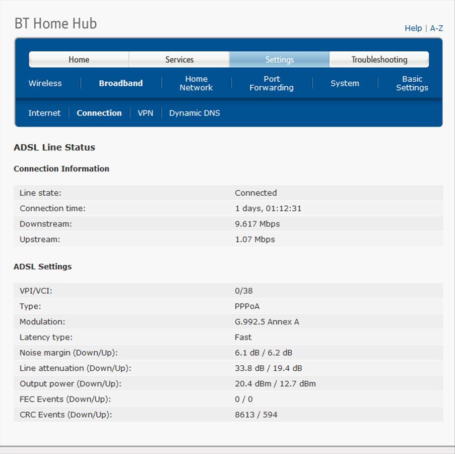 BT HH3 ADSL Line Status   15 Jan 2013.jpg