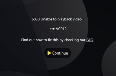Error Message - VC019