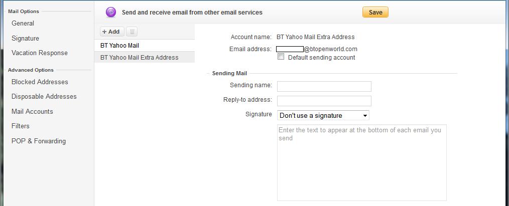 BT Yahoo Mail - Extra Address
