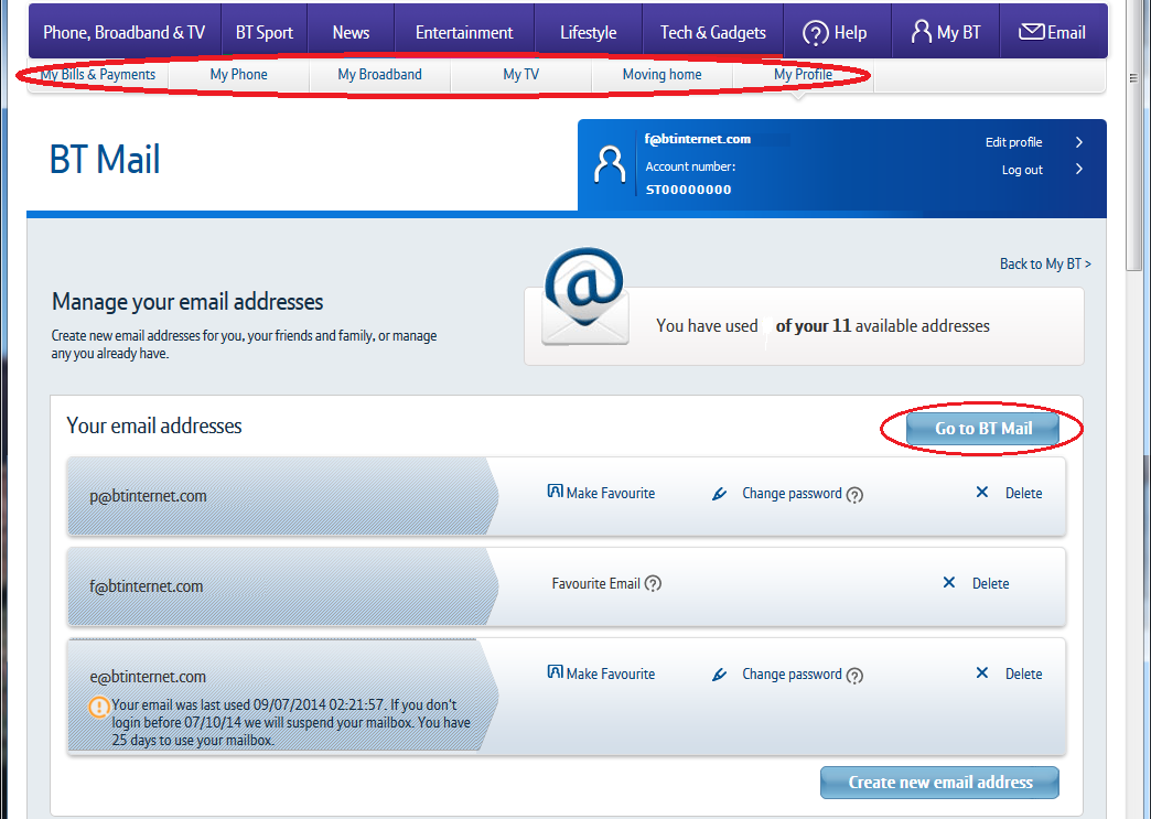 Manage your email addresses