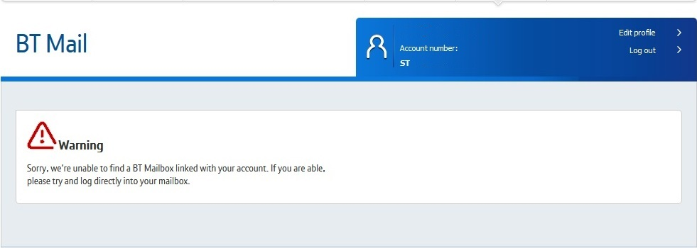 we're unable to find a BT Mailbox linked with your account