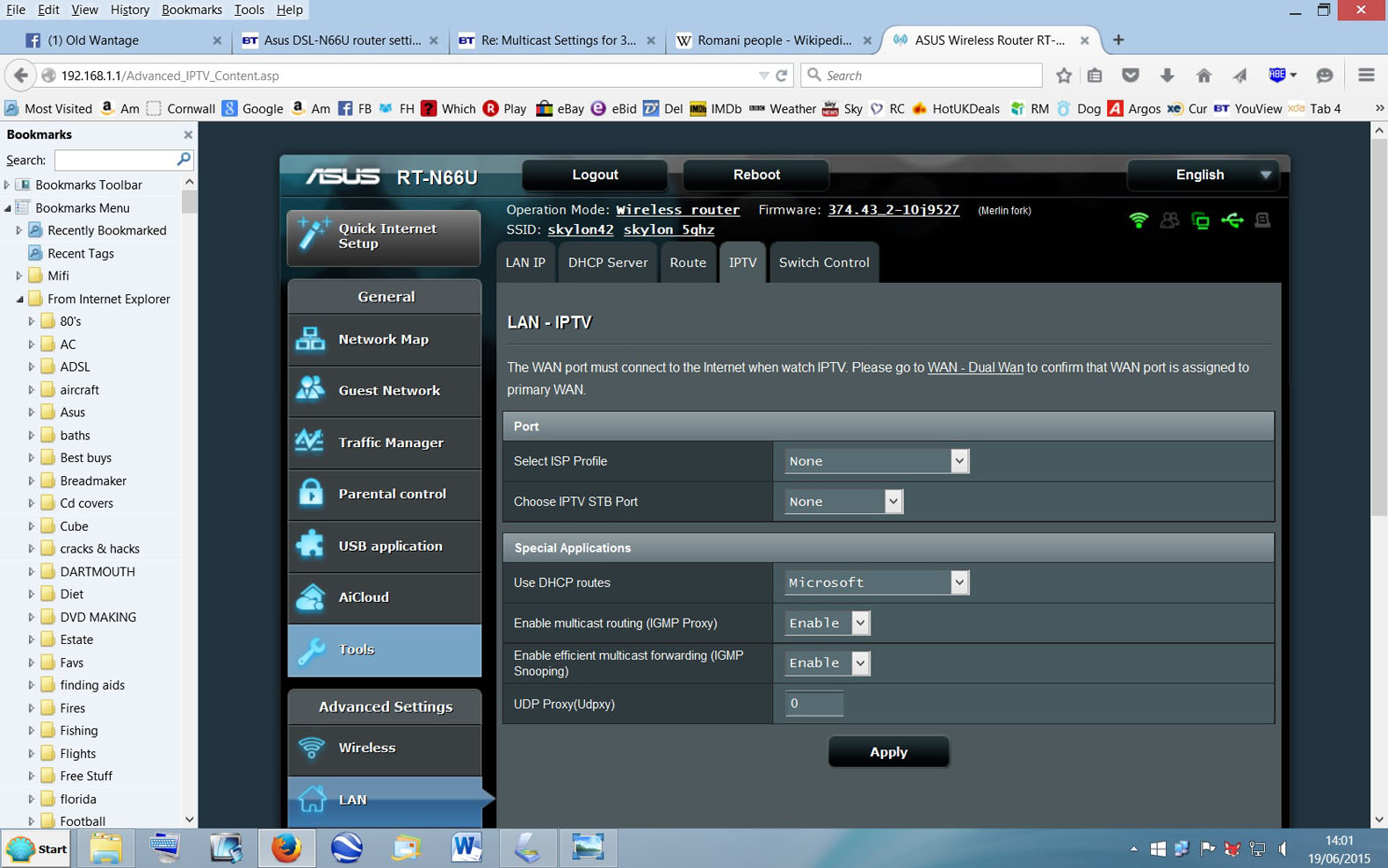 Asus DSL-N66U router settings IPTV - BT Community