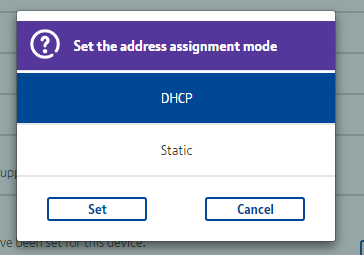 DHCP Static Option screen