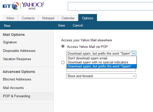 Impossible to Manage Mail Options in Yahoo! Mail