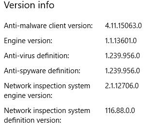 Windows Defender Versions