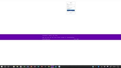 Screenprint of login screen