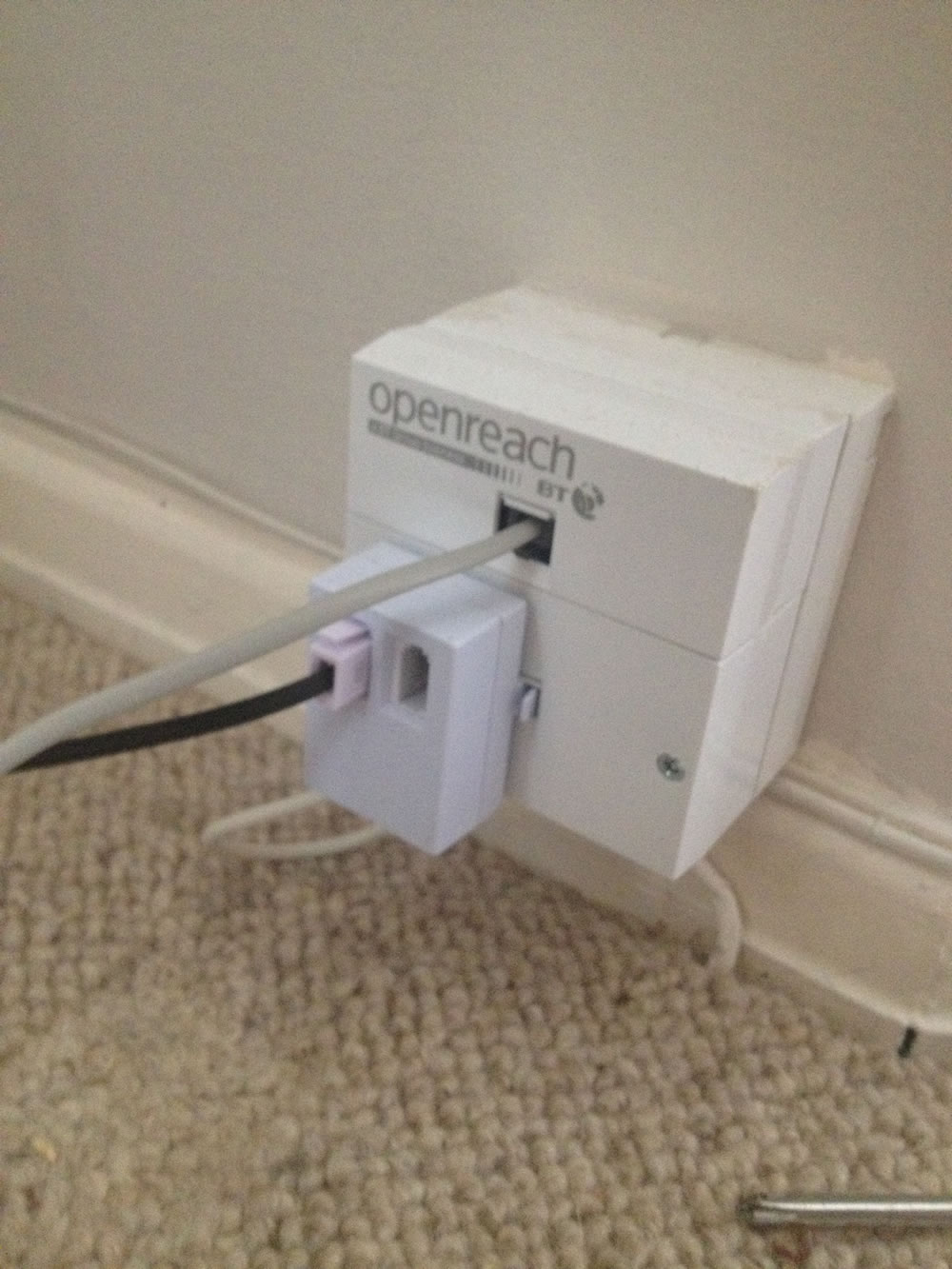 Solved Faulty Bt Openreach Box Community Wiring A Mains Socket The Microfilter Doesnt Work Unplug And Plug In Just Black Phone Cable Remove Screws Into