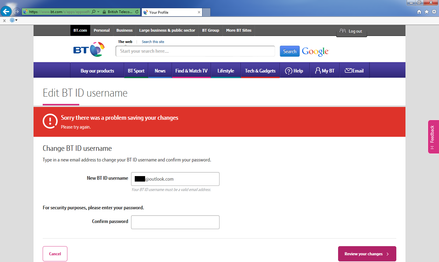 how to find my bt email address and password