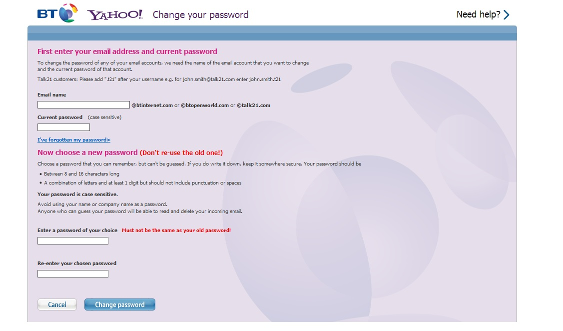 how to change my yahoo email password